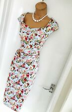 Stunning New JOLIE MOI Aqua Floral Retro Crossover Bodycon Dress Uk 10/ Eur 38
