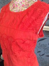 Monsoon  Orange Harper Broderie Anglaise Dress Size 16 Pristine Away 24.2-3.3