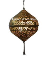 Handcrafted Moroccan Hanging Brass Tasseled Lamp Light Ceiling Fixture