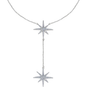14K White Gold Plated CZ Round Cut Starburst 18 Inches Pendant Chain Necklace