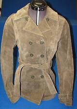 XS Green Wilsons Ladies Jacket Women Coat Suede Leather Coat Belted Army Pea