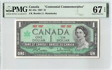 "Canada 1967 BC-45a PMG Superb Gem UNC 67 EPQ $1 ""Centennial Commemorative"""