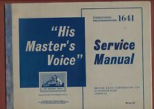 More details for  service manual 'his masters voice' 1641  radiogramaphone   ya.11