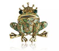 Vintage Style Gold Tone Enamel Frog Prince Rhinestone Diamante Brooch Pin Bling