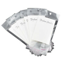 100 White Earring Display Cards with Self Adhesive Bags P6M2 G6S4