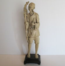 "Large Vintage Asian Chinese Ivory Color Fisherman Statue Figurine 15.7"" tall"