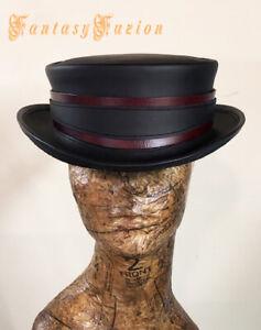 Steampunk Hat Pirate Gold Hunter Leather SHORT Top Hat 2 Tones Burning Man