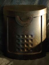 Vintage Antique Metal Postal Mail Box mailbox tarnished wall mount embossed
