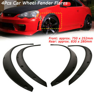 4pcs Universal Car Fender Parts Flexible Flares Wheel Arch Trim Strip Black