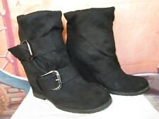 Women's Mia Wedge Faux Suede Black Ankle Slouch Booties Boots with Studs Sz 10