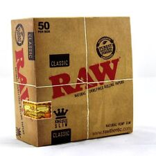 Raw Kingsize Slim Box of 50 - Hemp Unbleached Light Brown Rolling Papers