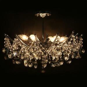 6 Arm Glass Crystals Ceiling Chandelier Lamp Modern Living Room Pendant Light