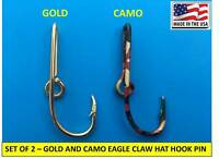 EAGLE CLAW FISH HOOK HAT PIN MONEY CLIP - GOLD-PLATED + CAMO HOOKS - Set of TWO!