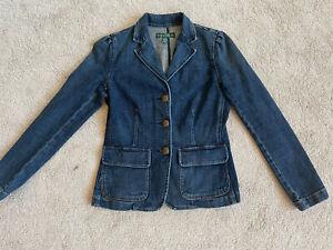 Lauren Jeans Ralph Lauren Womens Blue Denim Blazer Jacket Size 4