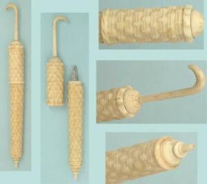Antique Carved Bone Parasol/Umbrella Needle Case w/ Basketweave Design * C1890