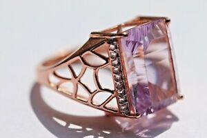 Ring rosévergoldet Stein Glas lila Amethyst Größe 54 4,8gr. 925er Silber 1481