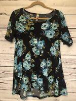 Lularoe Irma Soft Tunic Top Womens Sz S Short Sleeve Blue Black Flower Print