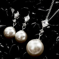 18k white gold gf made with SWAROVSKI crystal pearl stud earrings necklace set