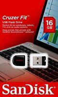 New Sandisk Cruzer Fit 16GB USB Flash Pen Drive SDCZ33 CZ33 Mini Memory Disk 16G