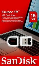 New Sandisk Cruzer Fit 16GB USB Flash Pen Drive SDCZ33 CZ33 Mini Memory Disk 16G