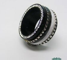 New Sterling Silver CZ Ceramic And Black Acrylic Swiveling Band Ring