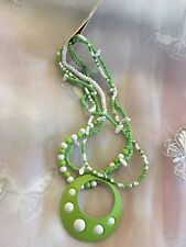 """New Bright Green & White Ceramic Beaded Pendant Necklace 17"""" Adjustable Length"""