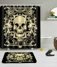Vintage Skull Shower Curtain Set Bathroom Waterproof Fabric Curtains Bathmat Rug