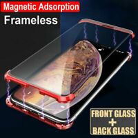 For iPhone XS Max XR X 8 7 Magnetic Adsorption Double Glass Frameless Case Cover