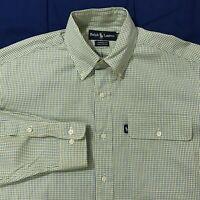 Polo Ralph Lauren Yellow Blue Check Yarmouth Dress Shirt Mens Size 15 32/33
