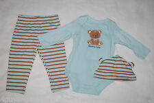 Baby Boys 3 Pc Set Pants L/S Shirt & Hat Blue Brown Striped Beary Cute 6-9 Mo