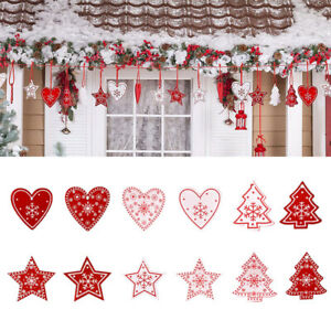 24 Pack Wooden Christmas Tree Hanging Ornaments Wall Ceiling Window Decorations