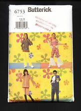 Butterick 6753  Austin Powers, Mod Groovy 60's Hippie Clothes Sz7-8-10 ©2001