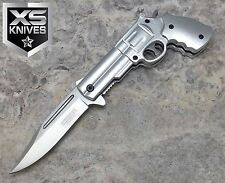 JTEC Spring Assisted PISTOL Revolver Gun SILVER Folding Pocket Knife