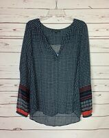 Sanctuary Anthropologie Women's L Large Navy Boho Long Sleeve Spring Top Blouse