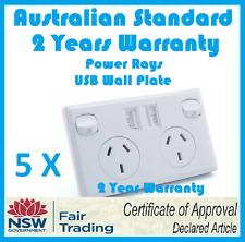 5 X Dual USB Double Australian Power Point Wall Power Supply USB Socket Switch