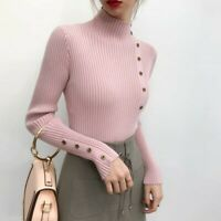 Women Casual Long Sleeve Turtle Neck Knit Sweater Jumper Tops Loose Blouse Shirt