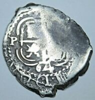 1664 Spanish Potosi Silver 1 Reales Cob Piece of Eight Real Antique Pirate Coin