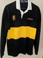 New listing Men's Polo Ralph Lauren Custom Fit Black Yellow Rugby Long Sleeve Shirt Large