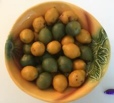 Yellow Portuguese Pottery Bowl Full Of Realistic Key Limes