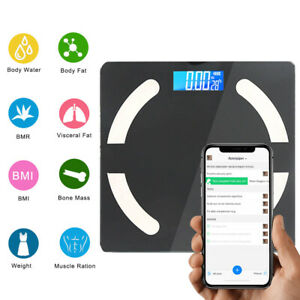 Smart Bluetooth Digital Scales With App Body fat BMI Scales Gym Fit Track Weight