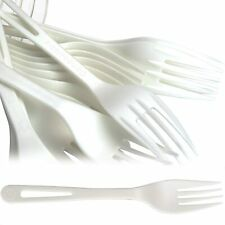 Eco Friendly White Plastic Forks Biodegradable Cutlery Value Pack By Avant Grub