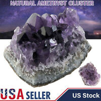 Natural Raw Amethyst Quartz Geode Druzy Crystal Cluster Healing Specimen Decor A