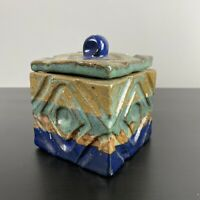 Vintage MCM Stoneware Pottery Square Box Lid Jar Blue Teal Diamond Signed Boho