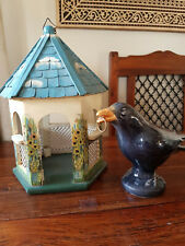 beautiful handmade and handpainted bird house/feeder
