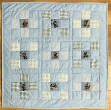 "Baby Boy Quilt Handmade Blue Clowns Patchwork Crib Blanket 40""x 40"" NEW"