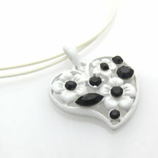 Halskette mit Herzanhänger 46cm weiß Kette Strass Anhänger Herz Damenkette