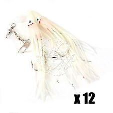 """12pairs Glow 4.75"""" Twin Squid Hoochies Rock Fish Rigs Lures Cod Bass Octopus New"""