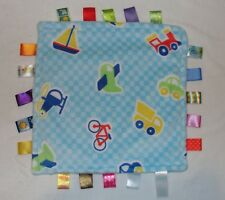 Taggies Baby Security Blanket Airplane Sailboat Car Train Blue Check Vehicles