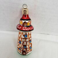 Port Washington  Glass Lighthouse Christmas Tree Ornament  4 inches tall Vintage
