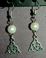 White Glass Pearl Silver Trinity Knot Earrings Celtic Pagan Triquetra Knot
